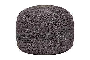 Handgjord sittpuff mörkgrå 45x30 cm jute