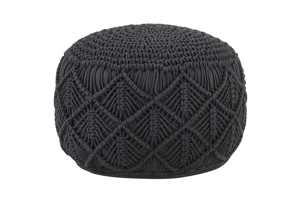Handgjord sittpuff makramé antracit 45x30 cm bomull - Antracit - Möbler - Fåtöljer & fotpallar - Sittpuff