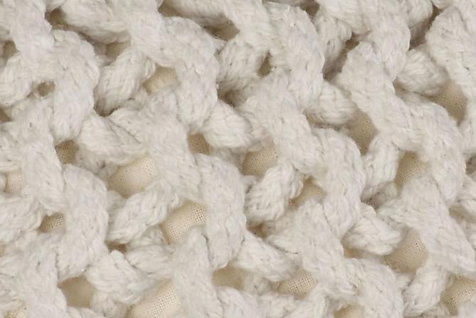 Handstickad puff bomull 50x35 cm vit - Vit - Möbler - Fåtöljer & fotpallar - Sittpuff