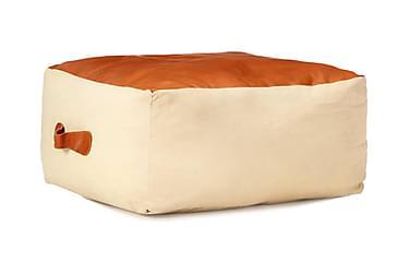 Sittpuff beige 60x60x30 cm bomullskanvas och läder