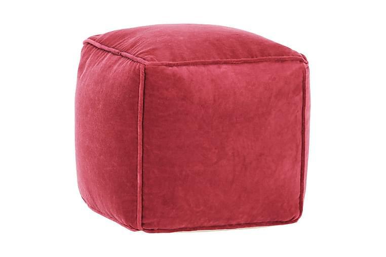Sittpuff bomullssammet 40x40x40 cm röd - Rosa - Möbler - Fåtöljer & fotpallar - Sittpuff