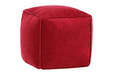 Sittpuff bomullssammet 40x40x40 cm rubinröd