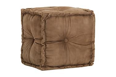 Sittpuff brun 40x40x40 cm bomullskanvas