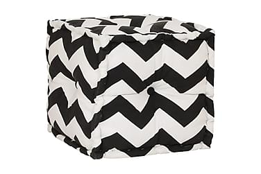 Sittpuff kub bomull med mönster handgjord 40x40 cm svart/vit