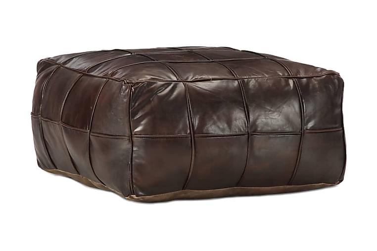 Sittpuff mörkbrun 60x60x30 cm äkta getskinn - Brun - Möbler - Fåtöljer & fotpallar - Sittpuff