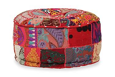 Sittpuff med lappmönster rund bomull handgjord 40x20 cm röd