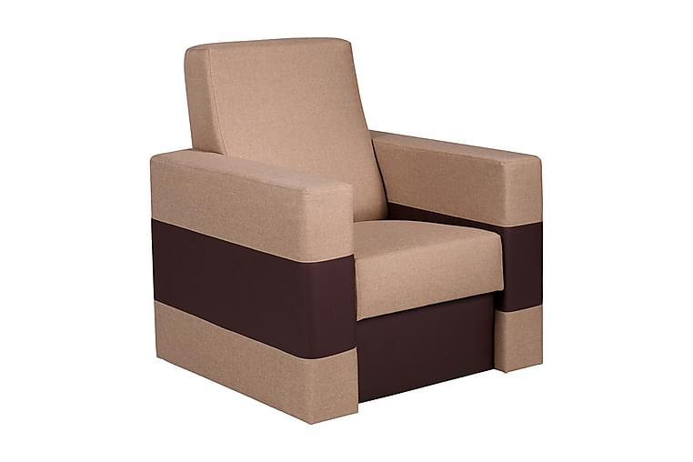 Fåtölj Gordia 85x82x82 cm - Beige - Möbler - Fåtöljer & fotpallar - Skinnfåtölj & läderfåtölj
