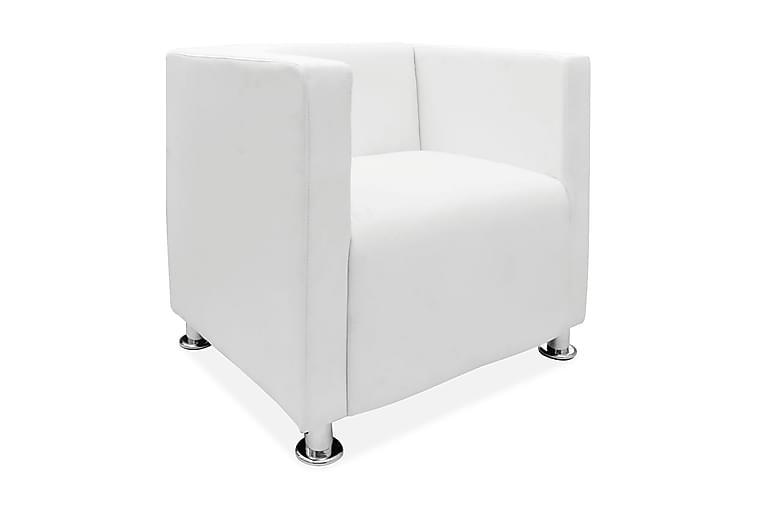 Kubfåtölj vit konstläder - Vit - Möbler - Fåtöljer & fotpallar - Skinnfåtölj & läderfåtölj