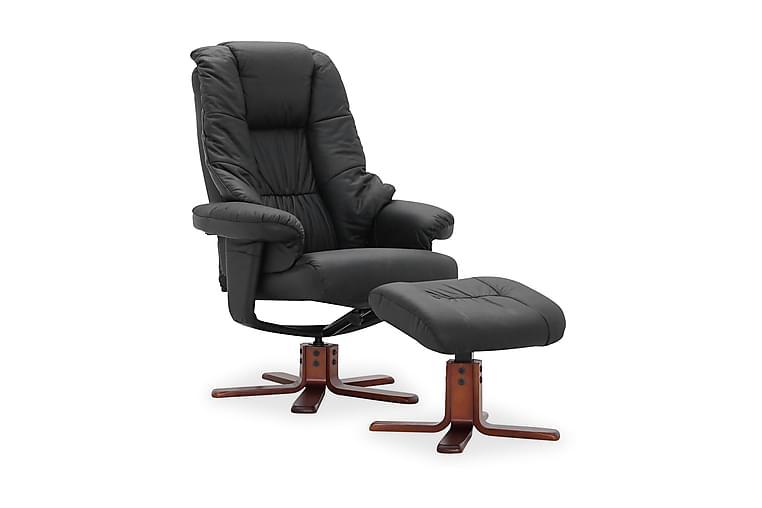 Snurrfåtölj Comfy med Fotpall - Svart Läder PVC - Möbler - Fåtöljer & fotpallar - Skinnfåtölj & läderfåtölj