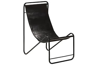 Avkopplingsstol äkta läder 50x78x90 cm svart