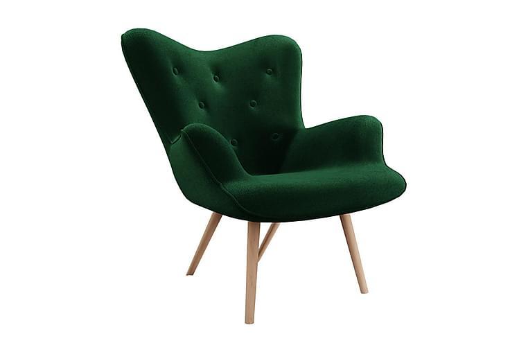 Fåtölj Biniali - Plysch/Grön - Möbler - Fåtöljer & fotpallar - Fåtöljer