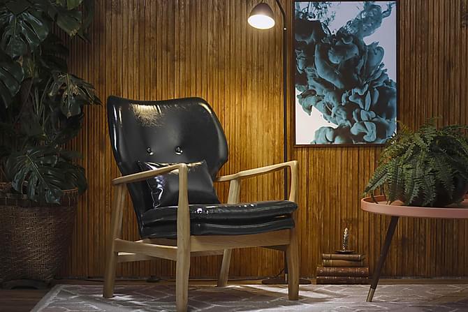 Fåtölj Edward Svart/Ek - Beige|Svart - Möbler - Fåtöljer & fotpallar - Fåtöljer
