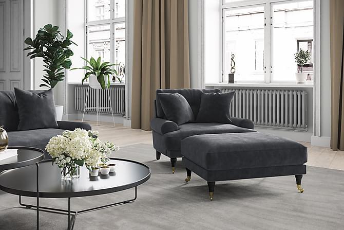 Fåtölj Webber Sammet - Silvergrå/Krom - Möbler - Fåtöljer & fotpallar - Fåtöljer