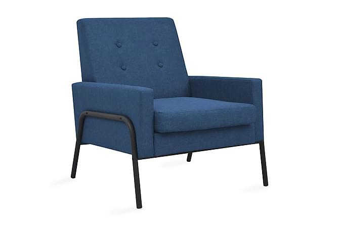 Fåtölj blå stål och tyg - Blå|Svart - Möbler - Fåtöljer & fotpallar - Fåtöljer