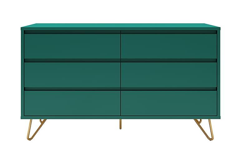Byrå Uscione 40x120 cm 6 Lådor - Grön/Mässing - Möbler - Förvaring - Byrå