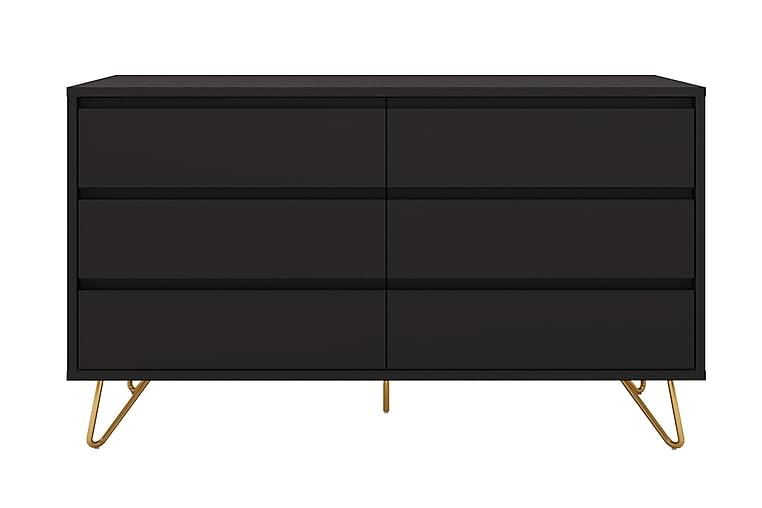 Byrå Uscione 40x120 cm 6 Lådor - Mörkgrå/Mässing - Möbler - Förvaring - Byrå