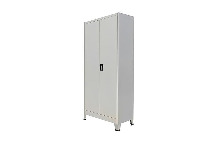 Dokumentskåp med 2 dörrar stål 90x40x180 cm grå - Grå - Möbler - Förvaring - Förvaringsskåp