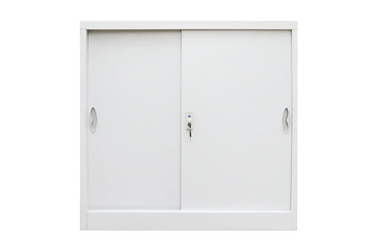 Kontorsskåp med skjutdörrar metall 90x40x90 grå - Grå - Möbler - Förvaring - Förvaringsskåp