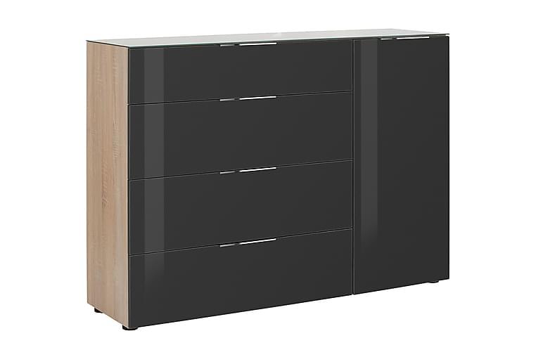 Skänk Monreal 135,3 cm Glastop - Ljusbrun Mörkgrått Glas - Möbler - Förvaring - Förvaringsskåp