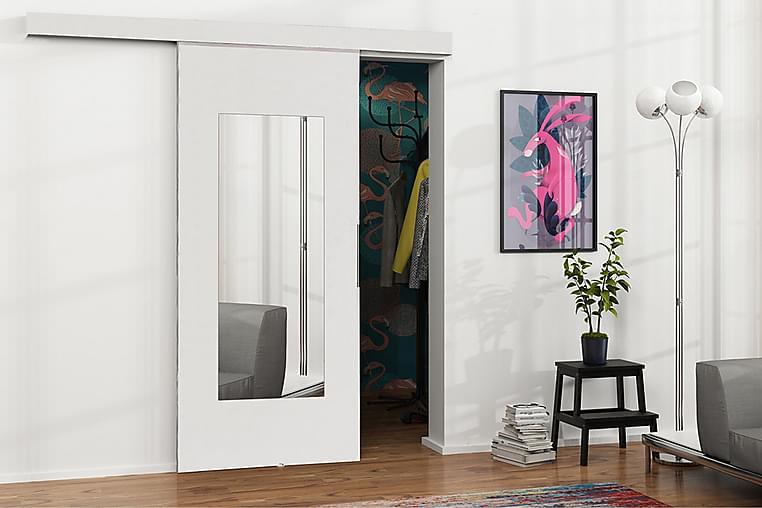 Dörr Malibu 204x96x205 cm - Vit/Spegel - Möbler - Förvaring - Garderober & garderobssystem