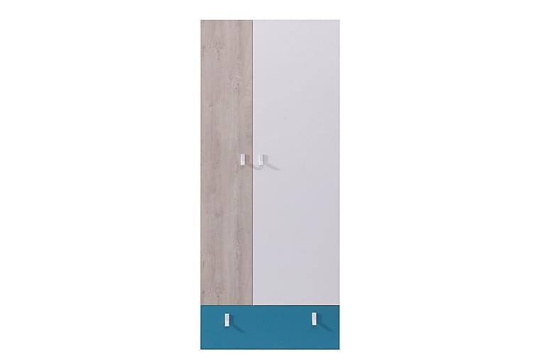 Garderob Betulia 80 cm - Vit/Natur/Blå - Möbler - Förvaring - Garderober & garderobssystem