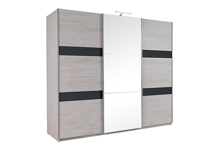 Garderob Charon 250x68,5x215 cm - Grå/Svart - Möbler - Förvaring - Garderober & garderobssystem