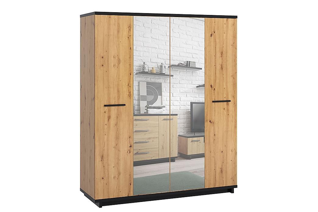 Garderob Ines 60x180 cm - Ek/Svart - Möbler - Förvaring - Garderober & garderobssystem