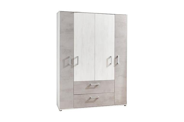 Garderob Insa 131 cm - Vit|Grå|Silver - Möbler - Förvaring - Garderober & garderobssystem