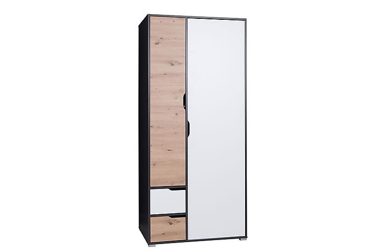 Garderob Iwa 60x90 cm - Grafit/Vit/Ek - Möbler - Förvaring - Garderober & garderobssystem