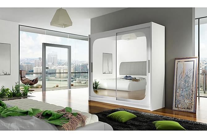 Garderob London 180 cm Skjutdörrar Fyrkantig Spegel - Vit - Möbler - Förvaring - Garderober & garderobssystem