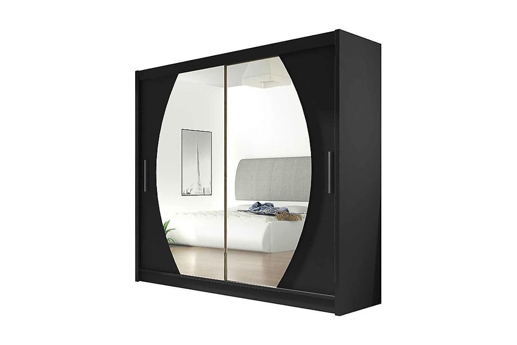 Garderob London Skjutdörrar Rund Spegel - Svart - Möbler - Förvaring - Garderober & garderobssystem