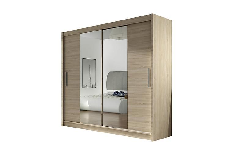 Garderob London Skjutdörrar Smal Spegel - Ek - Möbler - Förvaring - Garderober & garderobssystem