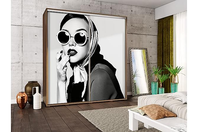 Garderob Penelopa 205x66x215 cm - Beige|Vit - Möbler - Förvaring - Garderober & garderobssystem