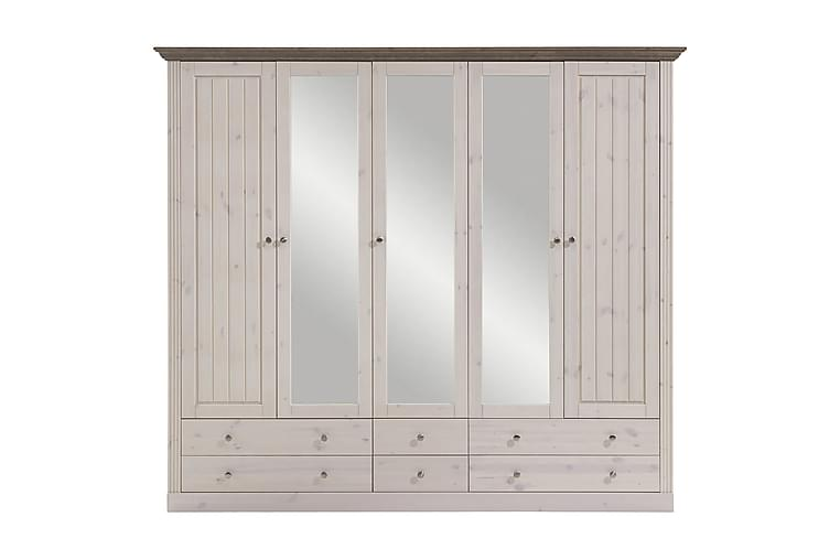 Garderob Saul 228 cm - Whitewash Brun - Möbler - Förvaring - Garderober & garderobssystem