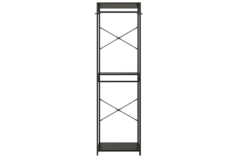 Garderob svart 60x40x213 cm metall och spånskiva - Svart - Möbler - Förvaring - Garderober & garderobssystem