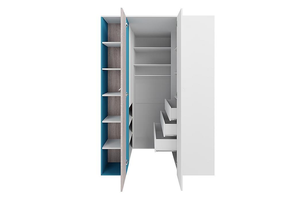 Garderob 135 cm - Vit|Trä/Natur|Blå - Möbler - Förvaring - Garderober & garderobssystem