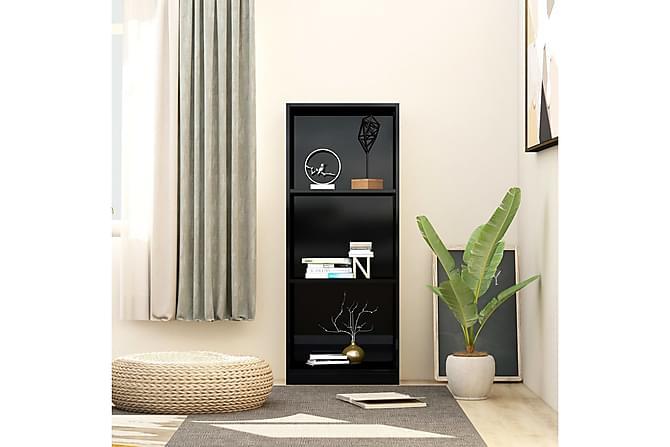 Bokhylla 3 hyllor svart högglans 40x24x108 cm spånskiva - Svart - Möbler - Förvaring - Hyllor