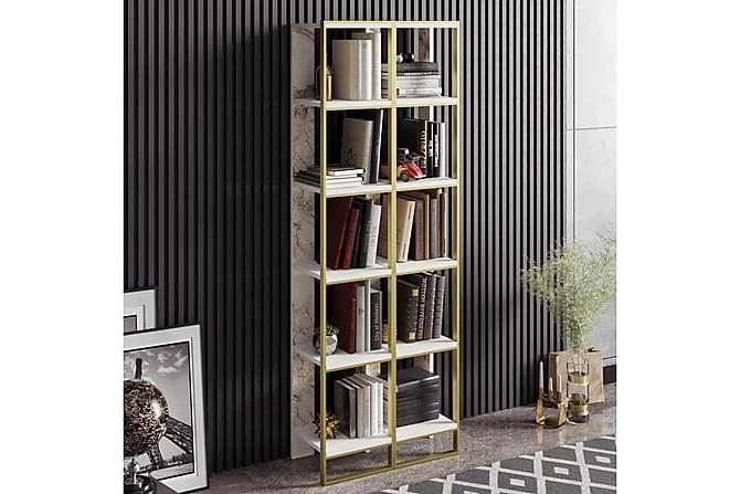 Bokhylla Mangles 64 cm - Guld|Vit - Möbler - Förvaring - Hyllor