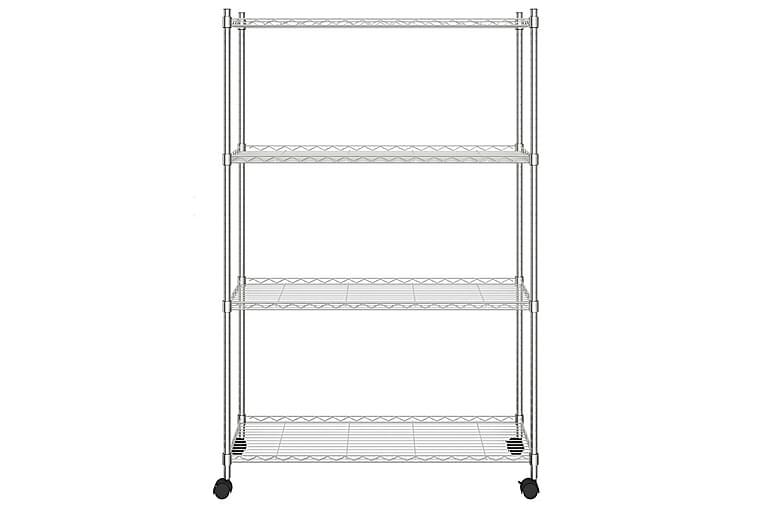 Förvaringshylla med hjul 4 hyllplan 90x35x142 cm krom 200 kg - Silver - Möbler - Förvaring - Hyllor