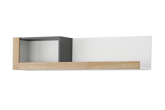 Hylla Padaro 125 cm - Grå|Trä|Natur|Vit - Möbler - Förvaring - Hyllor