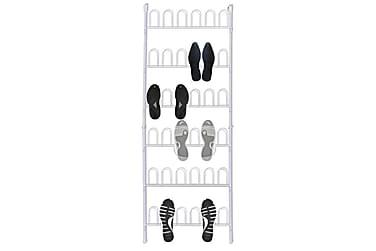 Skoställ för 18 par skor vit stål