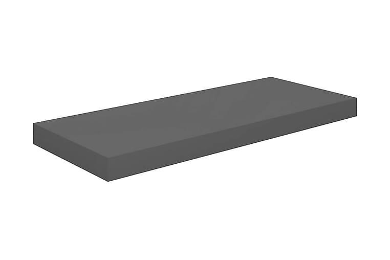 Svävande vägghylla grå högglans 60x23,5x3,8 cm MDF - Grå - Möbler - Förvaring - Hyllor