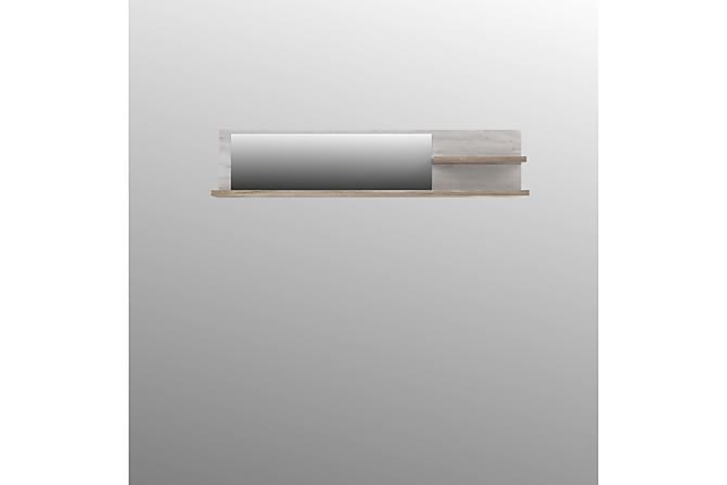 Vägghylla med Spegel Breage 25x213 cm - Brun/Vit - Möbler - Förvaring - Hyllor