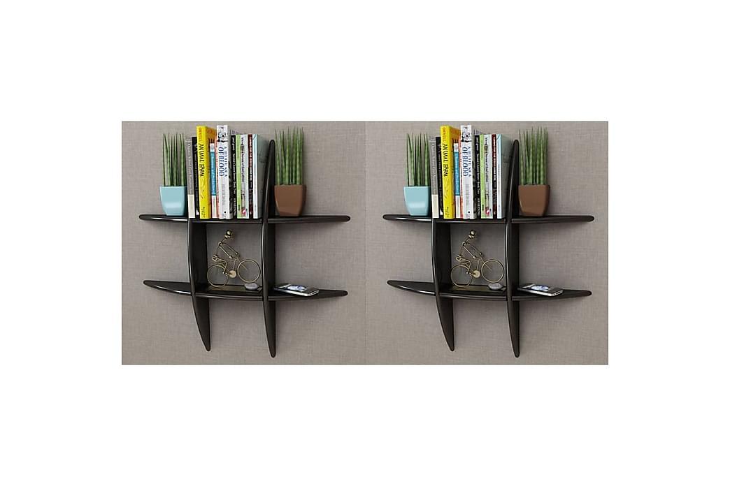 Vägghyllor 2 st svart - Svart - Möbler - Förvaring - Hyllor