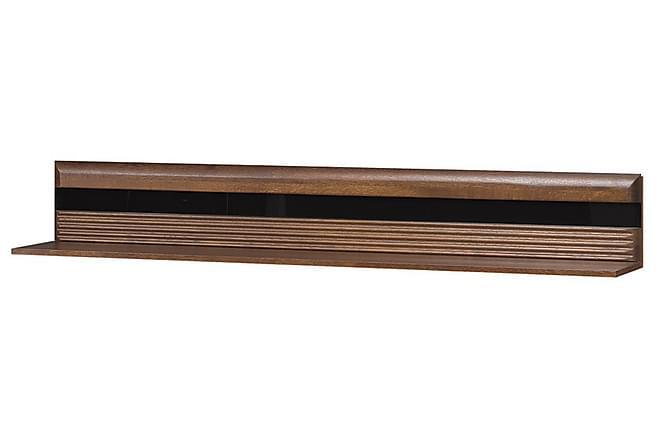 Vägghylla Pagani 160 cm - Trä Natur Svart Högglans - Möbler - Förvaring - Klädhängare & hängare