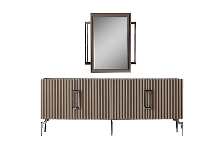 Skänk Burnak 210x50 cm utan Spegel - Beige/Svart/Silver - Möbler - Förvaring - Sideboard & skänk