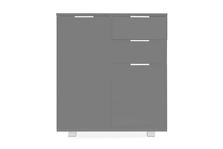 Skänk högglans grå 71x35x76 cm spånskiva - Grå - Möbler - Förvaring - Sideboard & skänk