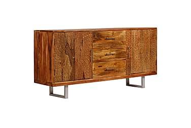 Skänk massivt akaciaträ med snidade dörrar 158x40x75 cm