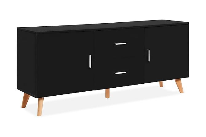 Skänk svart 160x40x70 cm MDF - Svart - Möbler - Förvaring - Sideboard & skänk