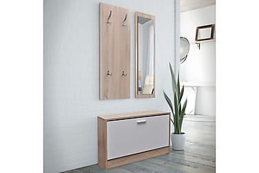 3-i-1 Skoskåp med spegel och hängare ek vit